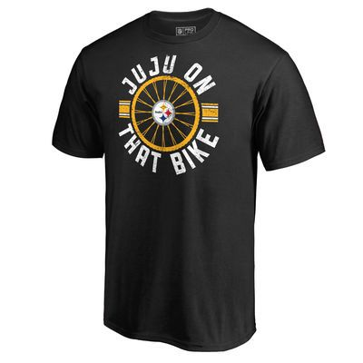 PITTSBURGH STEELERS~Men's Pittsburgh Steelers JuJu Smith-Schuster NFL Pro Line by Fanatics Branded Black Bike Hometown Collection T-Shirt