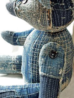 teddy bear kapital clothing long john blog japan rags boro sashiko stitching repair patched patch work handmade workwear jeans denim selvage selvedge buttons blue blauw teddy beer shades (5)