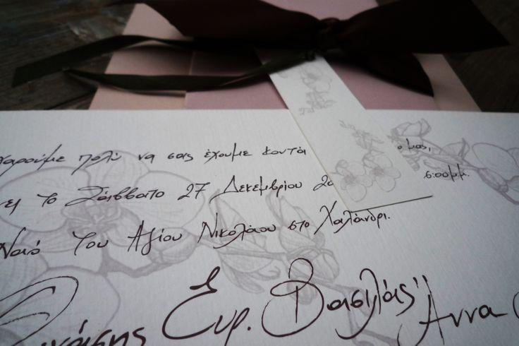 Handwritten wedding invitation with drawn orchids www.mazi-chirography.com