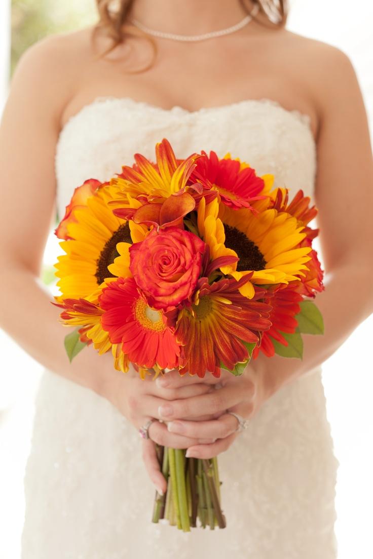 Nashville Garden Wedding Venue | CJ's Off the Square | Fall Sunflower Bouquet - Photo: Brandon Chesbro