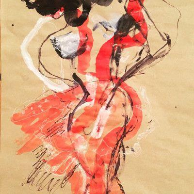 Andjana Pachkova, Red Dancing Devil In Love, Ink, acrylics, posca pens on paper, 41 x 58 cm - $650 (Framed)  www,stanleystreetgallery.com.au