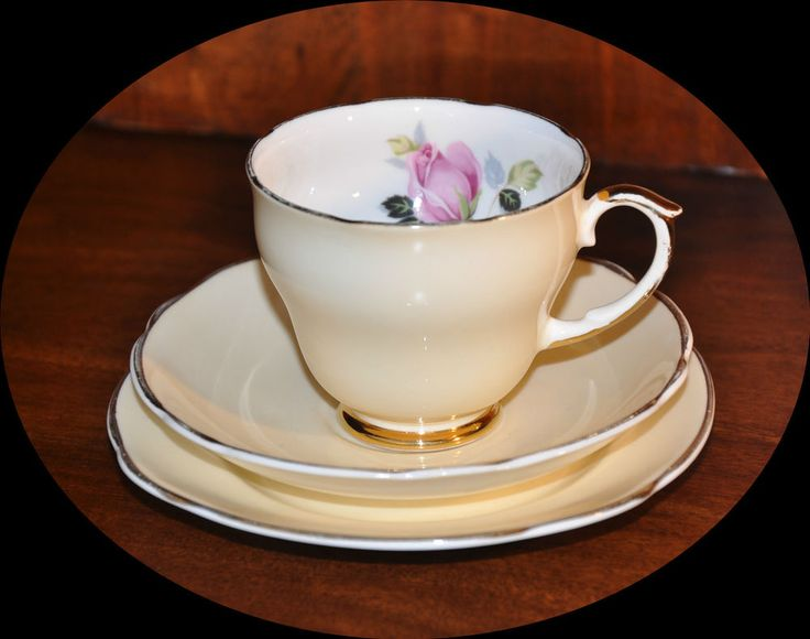 Fine Bone China EDINBURGH HARLEQIN Cream Tea Cup Saucer and Plate