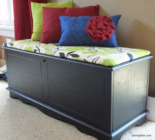 Hope Chest re-do with a little spray paint and a cushioned lid! @Sarah Chintomby Bellamy