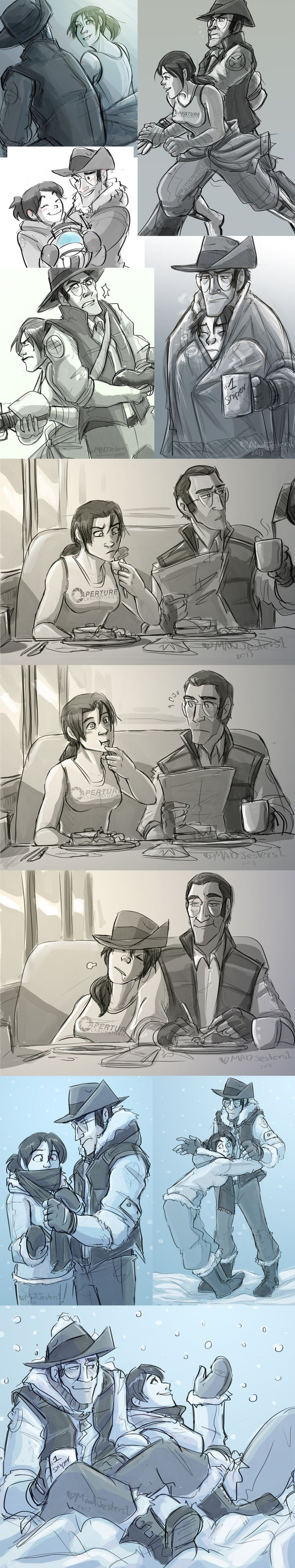 Tf2-LongLost Chell Sniper sketches2 by MadJesters1.deviantart.com on @DeviantArt