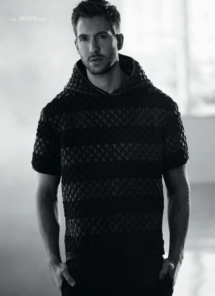Calvin Harris sports a short-sleeve quilted hoodie in a new image from his Emporio Armani spring-summer 2015 campaign