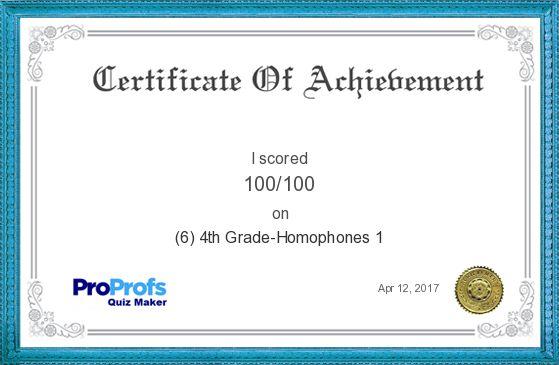 Score Report: (6) 4th Grade-Homophones 1 at Free Online Quiz School