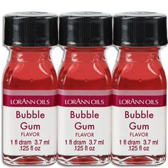 Super strength bubble gum oil specially formulated for use in candy, candy centers, chocolate, fondant, fudge, frosting, cookie dough, cake batter, and more. When substituting these oils for extracts
