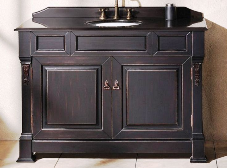 antique black bathroom vanity with wall mounted black wooden rectangle two doors countertop vanity top granite cabinet and white round undermount sink and