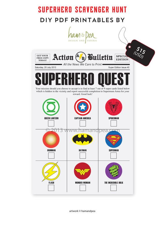 superhero scavenger hunt diy printable file maybe add clues under each one birthday party. Black Bedroom Furniture Sets. Home Design Ideas