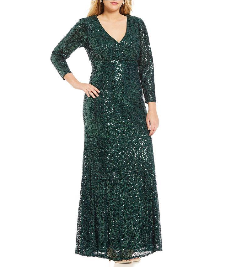 Cachet Plus Sequin Plunge Gown #Dillards
