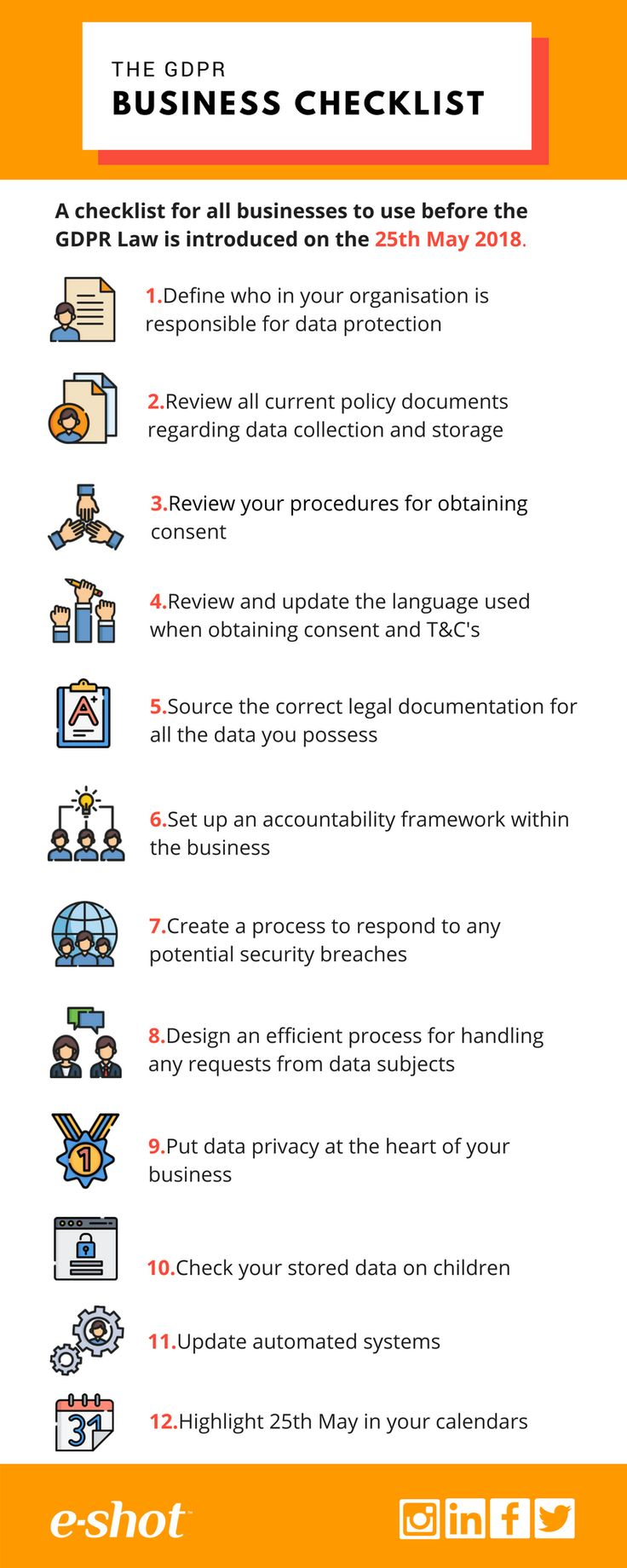 Use our #GDPR #checklist to ensure your business processes are in-line for