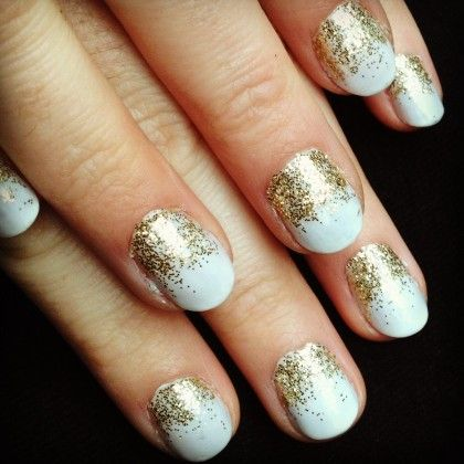 glitter dipped nails