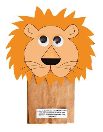 Daniel's Lion Puppets from Guildcraft Arts and Crafts! Act out how the lions' mouths were closed because Daniel trusted in God.