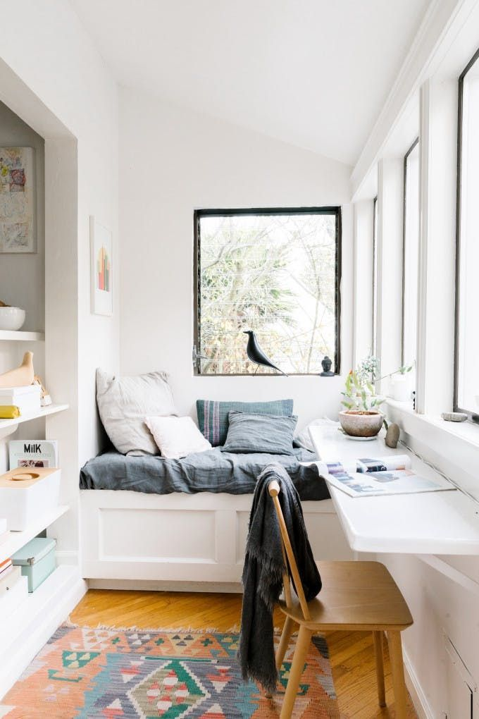 Clean and simple with pops of softer colors and textures :: Don't Waste an Inch: Ideas for Using a Really Narrow Room