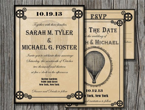 Steampunk Wedding Invitation Set PRINTABLE   Steampunk Wedding Suite  Printable   Victorian Wedding Invitation   Save The Date   RSVP Card