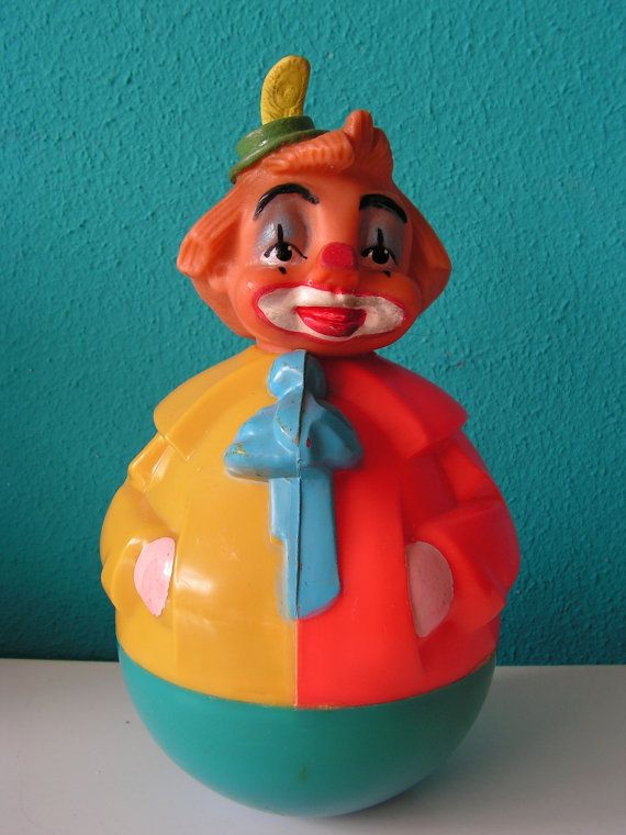 Vintage Children Baby Toy Rolly Polly Roly Poly Clown