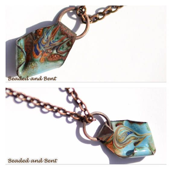 Rustic Copper Enamel Reversible Pendant   Hand cut and curled