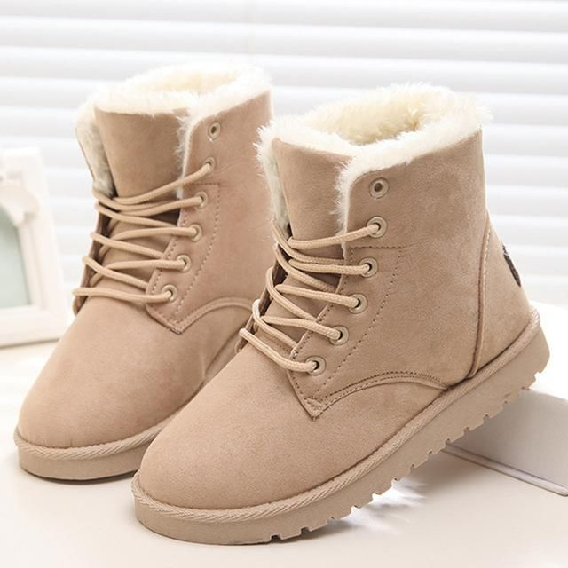 Snow Boots Flat Lace Up Winter Suede
