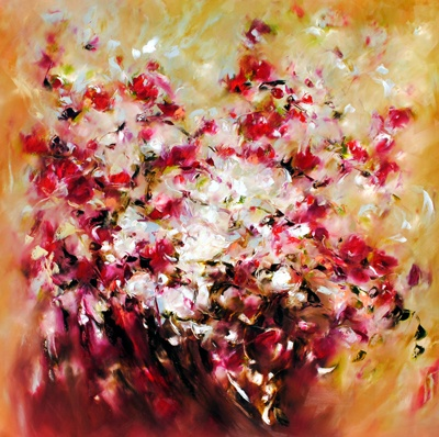 """Scattered Roses"", painting by Carole Arnston at Crescent Hill Gallery"