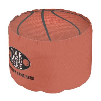 Novelty basketball pouf. Personalize it with your team logo and team name. Beanbag or ottoman. Beanbag chair or ottoman that is perfect for the man cave. #novelty #sports #geek #geeky #man #cave #basketball #personalized #team #name #team logo