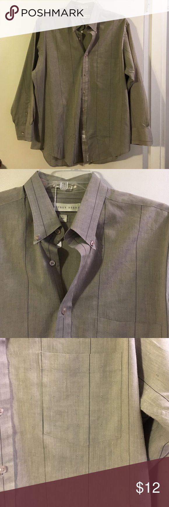 Geoffrey Beene gray w/black pinstripe men's shirt Cotton/poly. L Geoffrey Beene Shirts Dress Shirts