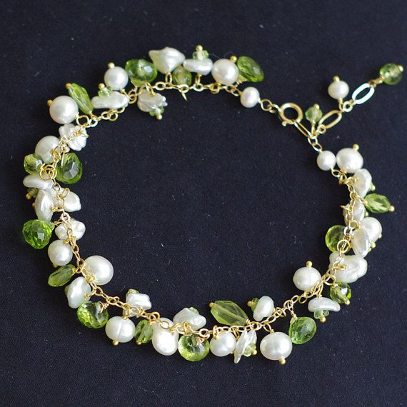 Cluster bracelet with peridot fresh water by FridaHandmadeJewelry, $92.00