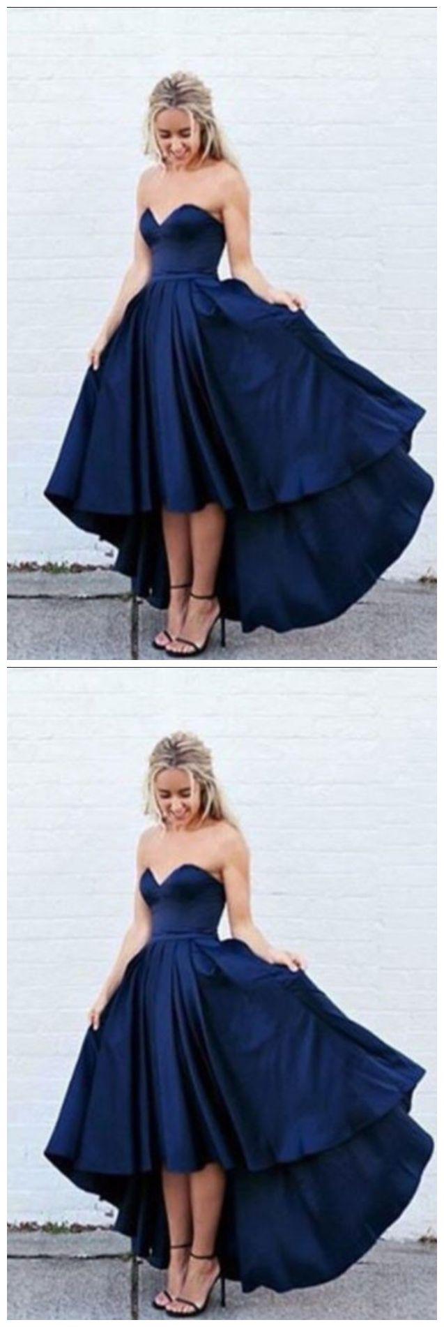 New Arrival simple dark navy blue high-low prom dress, evening dress