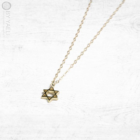 Star of David necklace, magen david charm, jewish necklace, dainty necklace, statement necklace, gift under 50, everyday necklace tiny charm  _________________________________________________________________________________________    Delicate gold star of david charm, hangs on 18K gold filled chain.   pendant size: 10x8mm      ★ Unique and original design!  ★ 100% Top quality 18K Gold plated 2 microns thick over brass base!  ★ 100% 18K Gold Filled chain, hoops and brackets GUARANTEED  ★ ONE…