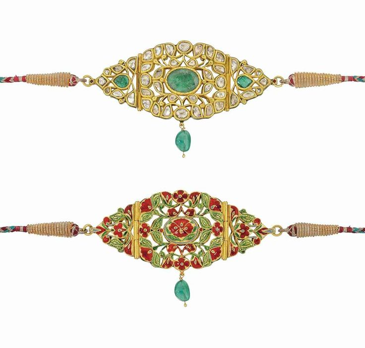 A GEMSET AND ENAMELLED GOLD bajuband MUGHAL OR DECCAN 19 TH CENTURY..
