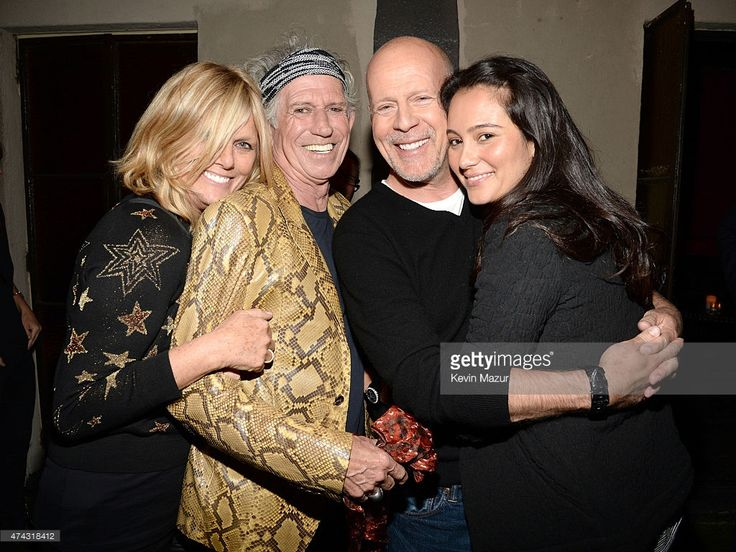 Patti Hansen, Keith Richards, Bruce Willis and Emma Heming attend The Rolling Stones Los Angeles Club Show after party at The Fonda Theatre on May 20, 2015 in Los Angeles, California. The Rolling Stones played a special surprise show at The Fonda Theatre in Los Angeles with a one-time only set featuring the original Sticky Fingers album in its entirety with additional Stones hits. The intimate performance was a celebration of the June 9th re-issue of the Sticky Fingers album, one of the most…
