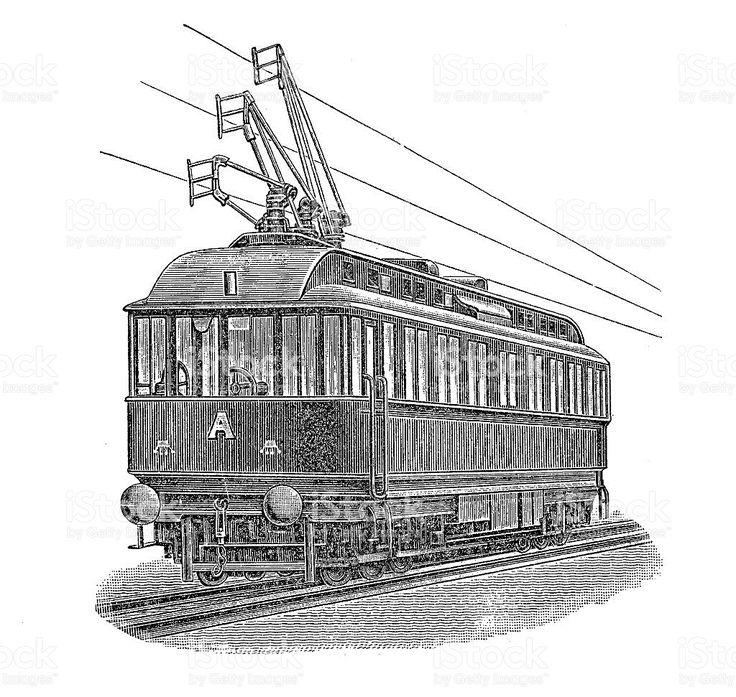 Vintage Grawerowanie, elektryczne tramwajowych stockowa ilustracja wektorowa royalty-free