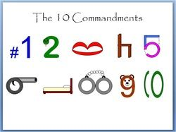 Graphic helps kids memorize 10 Commandments ~ you need to scroll down the page to find the explanations.