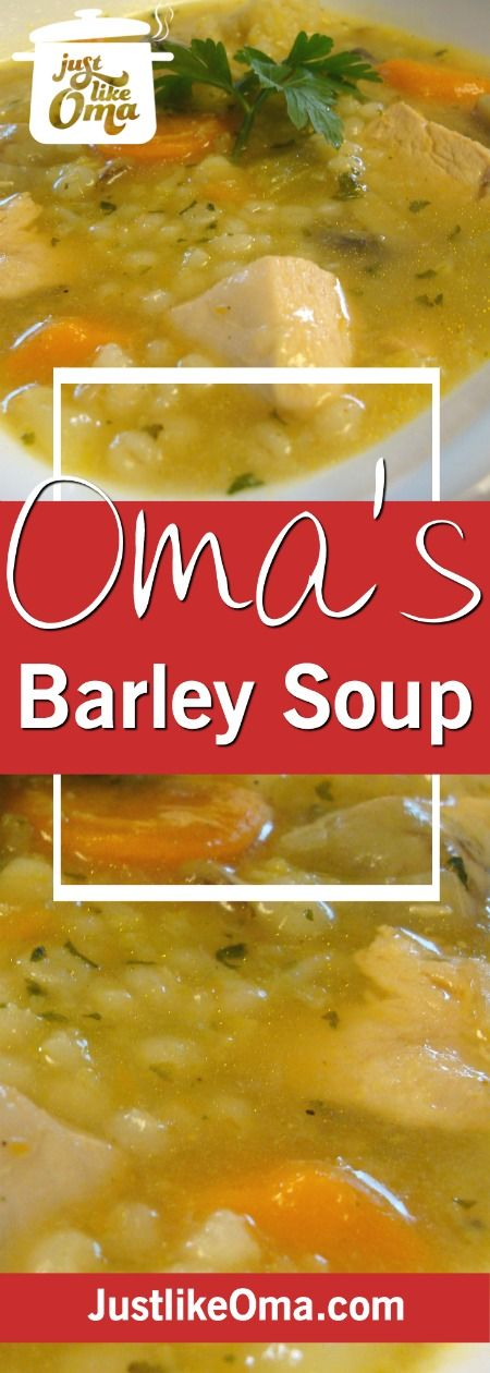 German Chicken Barley Soup is such a filling comfort food. ❤️ Recipe: http://www.quick-german-recipes.com/barley-soup-recipe.html