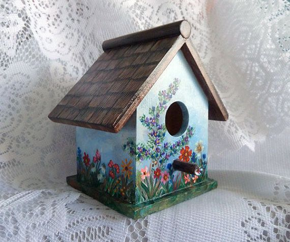 Bird house Small bird house Hand painted birdhouse by JudesTinyArt, $35.00