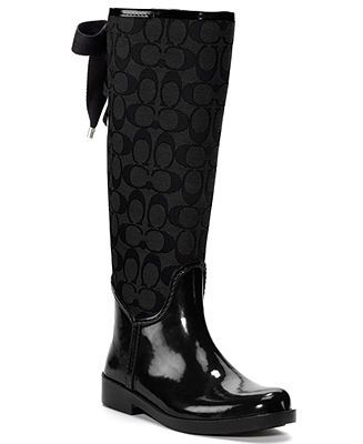COACH TRISTEE RAINBOOT - Boots - Shoes - Macy's. Can someone give me $128 so I can buy these please?! K thanks! ;)