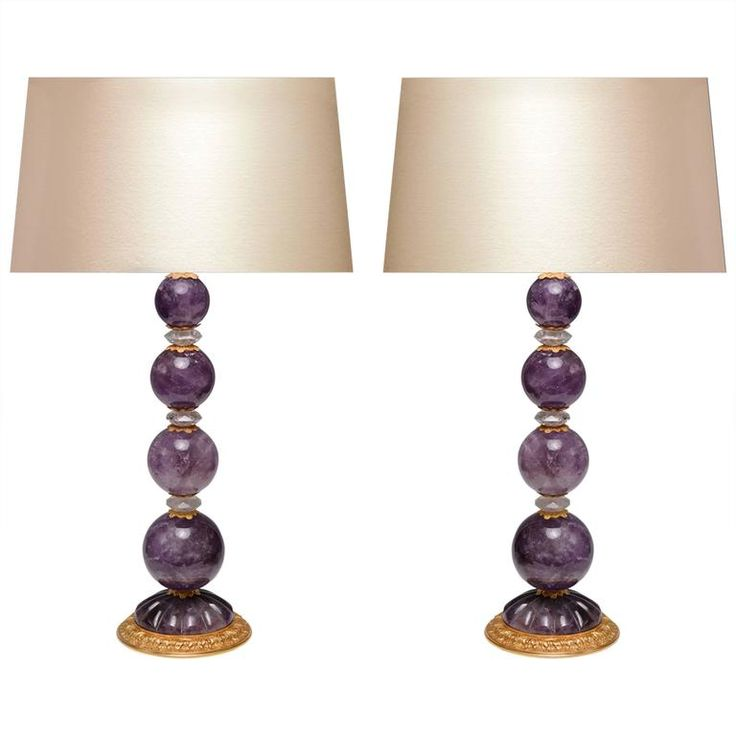 Pair of Ormolu-Mounted Amethyst Rock Crystal Quartz Lamps 1