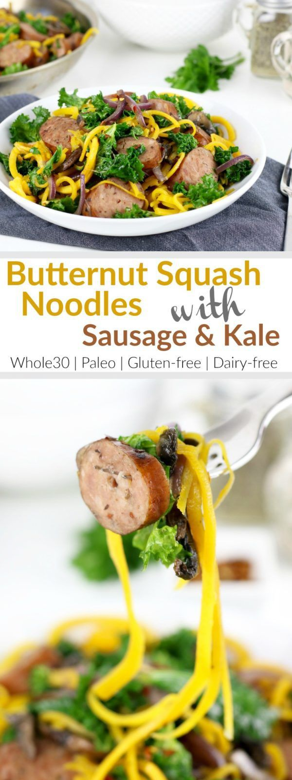 We're about to steal your comfort food-loving heart with these one-dish Butternut Squash Noodles with Sausage and Kale | Whole30 | Paleo | Gluten-free | Grain-free | therealfoodrds.com