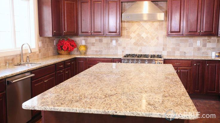 Giallo Ornamental Granite Kitchen Counters. Backsplash option