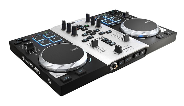 """Hercules DJControl AIR S series, USB DJ Controller with 8 Progressive Pads and """"AIR"""" control with Audio Outputs for use with your headphones and your speakers (4780771). Dual-deck USB DJ Controller with touch and AIR control technologies, for PC and Mac; This controller offers an unrivalled features-to-price ratio and a modern, trendy design. 2 pressure-detecting jog wheels to experiment with scratching (10 cm / 3.94"""" diameter); 8 progressive pads for controlling loops and effects...."""