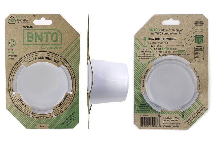 BNTO canning jar lunchbox adapter keeps your dip, yogurt, or dressing away from the rest of your portable snack. Just add mason jar! Perfect for college students toting lunch or snacks to class. #easydorm #dormitems #collegedorm