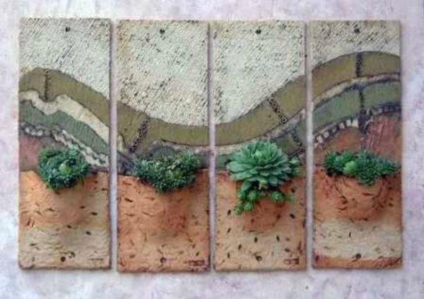 Gartendekoration für die Wand: 21 inspirierende Beispiele! – Keramiek – #Beis …   – Keramische Kunst