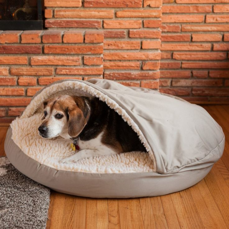 Snoozer Cozy Dog Cave - The Snoozer Pets Poly-Cotton Cozy Cave Pet Bed, has a sherpa-lined pocket designed so that all pets can snuggle with the comfort of a soft cover on to...