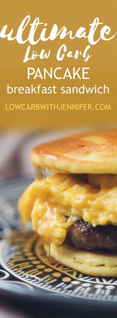 This low carb breakfast sandwich uses pancakes as the bun and it's filled with soft scrambled eggs and a sausage patty. Top with sugar free maple syrup!