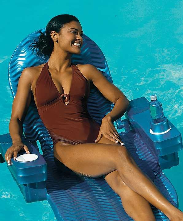 The Original Pool Chaise is the most comfortable, versatile floating chaise we could find. At the turn of a knob, it can be used as an upright chair, full-length unsinkable float, or multi-position recliner.