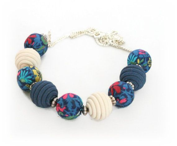 Fabric Bead Necklace  Blue Bead Necklace for by Lottieoflondon  Step into this season in style with this fabric bead necklace handmade with my Liberty of London fabric beads and teamed with my handmade polymer clay beads in matching hues.  #jewelry #jewellery #necklace #beadbecklace #libertyoflondon #fabricnecklace #floralnecklace #blue #navy #bluenecklace #statementnecklace #mystyle #fashion #whattowear #giftideas #giftforher #etsy #accessories