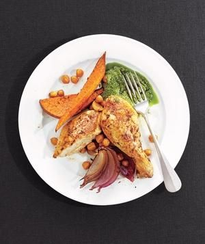 Roast Chicken With Sweet Potatoes and Chickpeas recipe