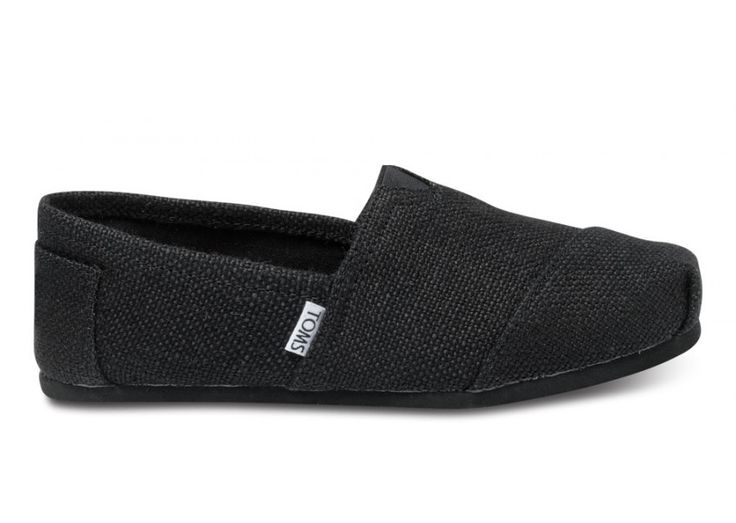 Black Burlap Womens Classics | TOMS.com. I LOVE these shoes! The first day or two they were soooo slippery that I thought I'd made a huge mistake in purchasing them...but now that they're worn in a bit they aren't as bad. They are so comfortable it's ridiculous!