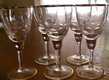 Antique Victorian Etched & Gilded Glass Liquor Glasses-Set of 5 on ebay