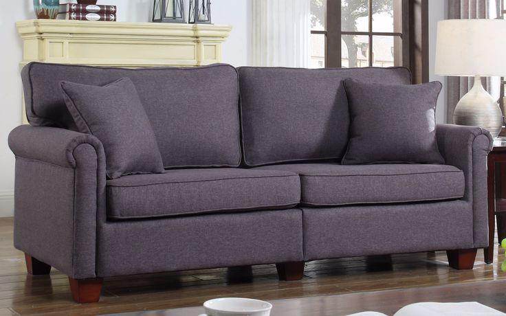 Classic 73-inch Love Seat Living Room Linen Fabric Sofa in Dark Grey