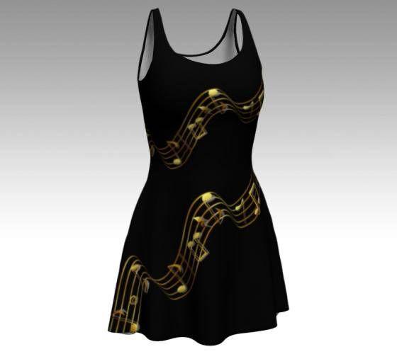 Music Dress Music Notes Dress Black Dress Musical Print